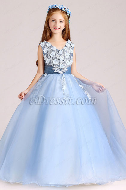 Blue Sleevless Flora Children Wedding Flower Girl Dress