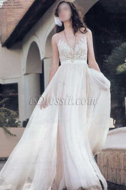 eDressit White A Line Empire Embroidery Wedding Party Dress (36194407)