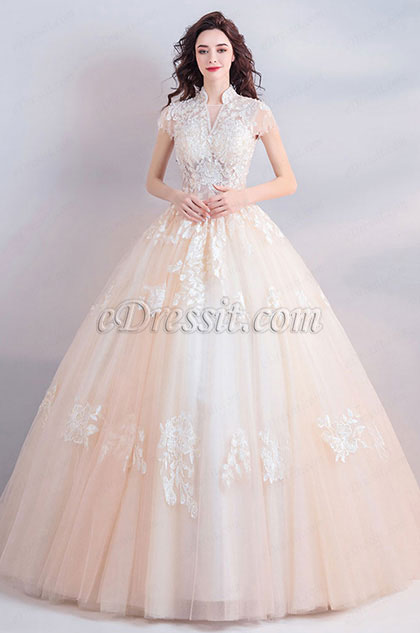 eDressit High Neck Lace Applique Formal Wedding Bridal Gown (36208556)