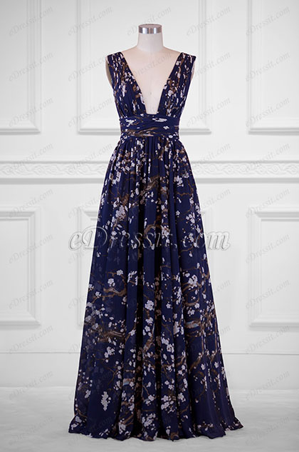 eDressit Plunging V-Cut Strap Print Floral Evening Dress(00183168D)