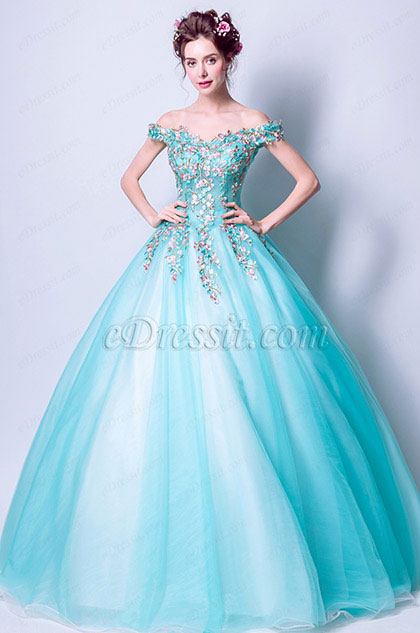 eDressit Water-Green Off Shoulder Embroidery Party Prom Ball Gown (36199732)