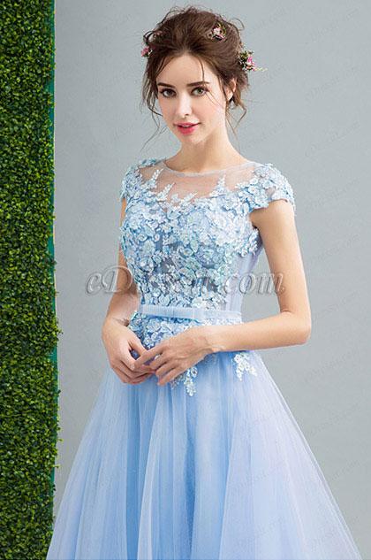 eDressit Blue Cap Sleeves Lace applique Prom Party Dress (36206832)
