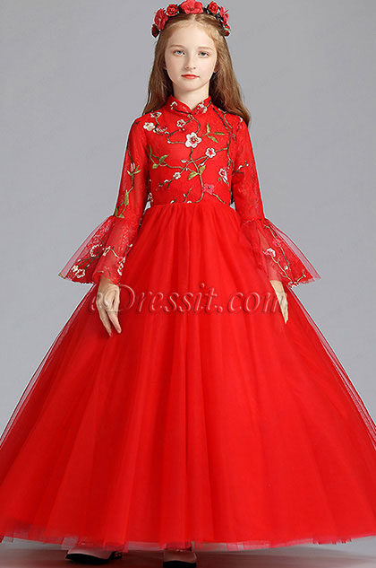Red Long Embroidery Flower Girl Stage Dress