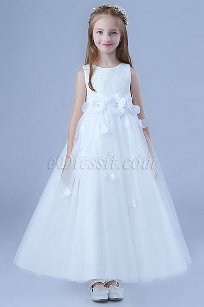 White Bowknot Long Wedding Flower Girl Dress