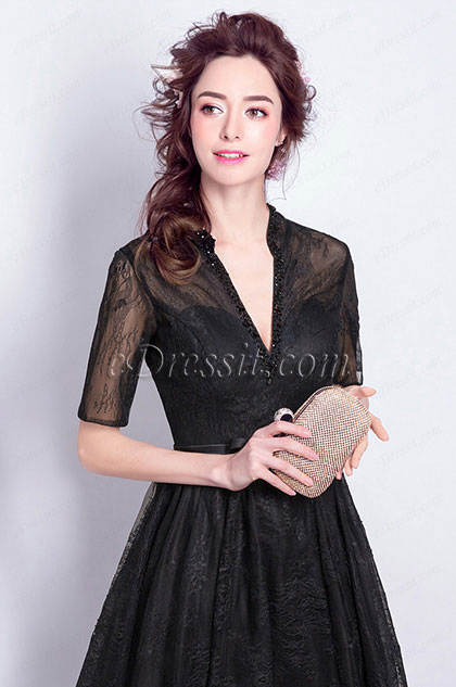 eDressit Black Deep V-Cut Half Sleeves Party Women Dress (36200100)