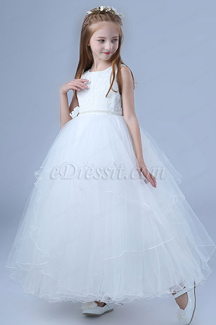 White Princess Lace Wedding Flower Girl Dress