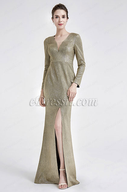 Sexy V-Neck Shiny long Sleeve Party Evening Dress