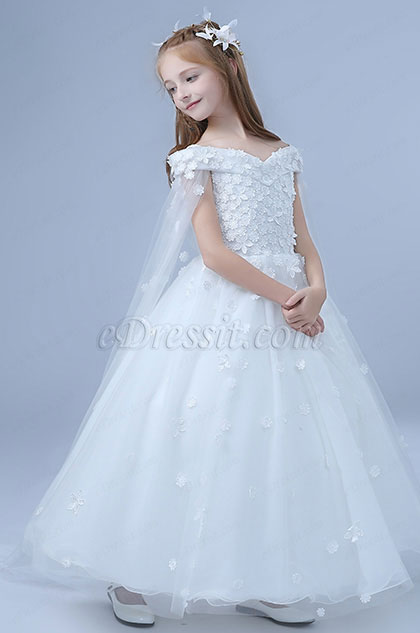 Romantic Long Wedding Flower Girl Party Dress