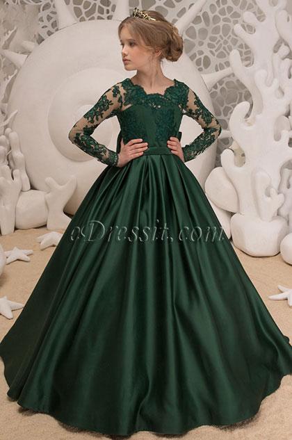 eDressit Green Empire Lace Long Wedding Flower Girl Dress (27195604)