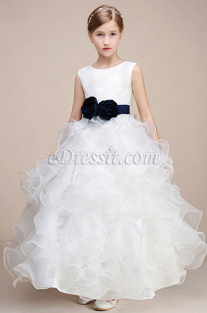 White Princess Multi-layer Wedding Flower Girl Dress