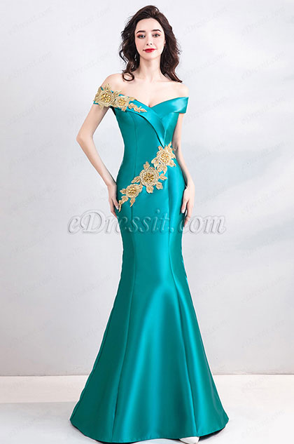 eDressit Green with Gold Lace Off Shoulder Mermaid Party Prom Dress (36203104)