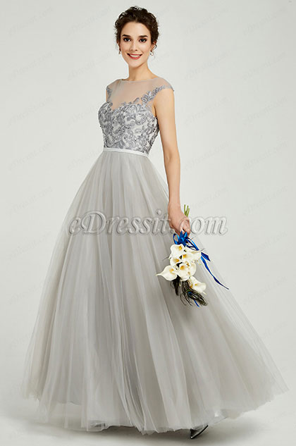 eDressit Grey Elegant Sleeveless Lace Applique Formal Women Dress (02191408)