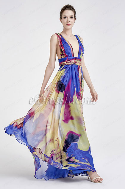 eDressit Sexy Plunging V-Cut Blue Print Floral Prom Ball Dress (00183168N)