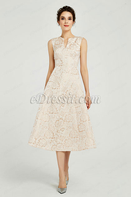 eDressit Beige Tea Length Evening Party Prom Dress (03190514)