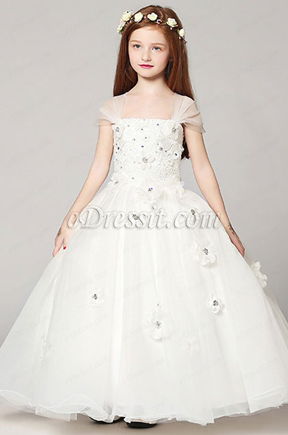 eDressit White Lovely Wedding Flower Girl Party Dress (27191107)
