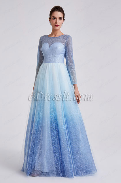 eDressit 2019 New Shiny White-Blue Sleeves Party Formal Dress (02191043)