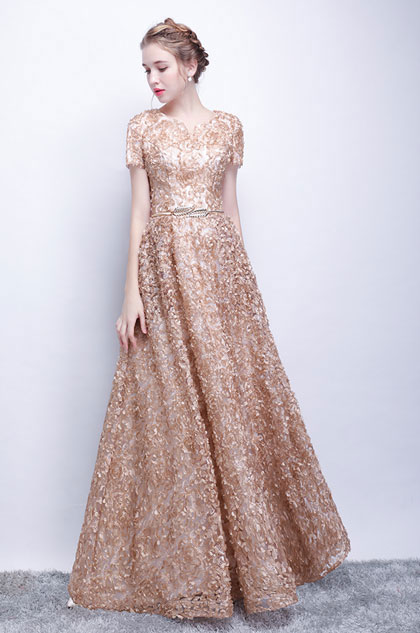 eDressit Champagne Short Sleeves Floral Long Party Evening Ball Dress (36218414)