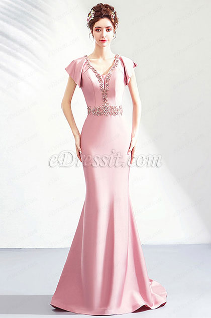 eDressit Pink Beaded Neckline Cap Sleeves Women Formal Dress (36202801)