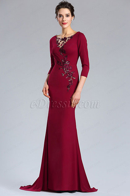Edressit Burgundy Floral Mother Of The Bride Occasion Dress 26181217