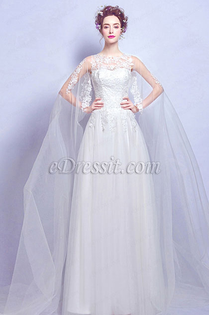eDressit Sexy White Long Tulle Bride Wedding Dress (36194707)