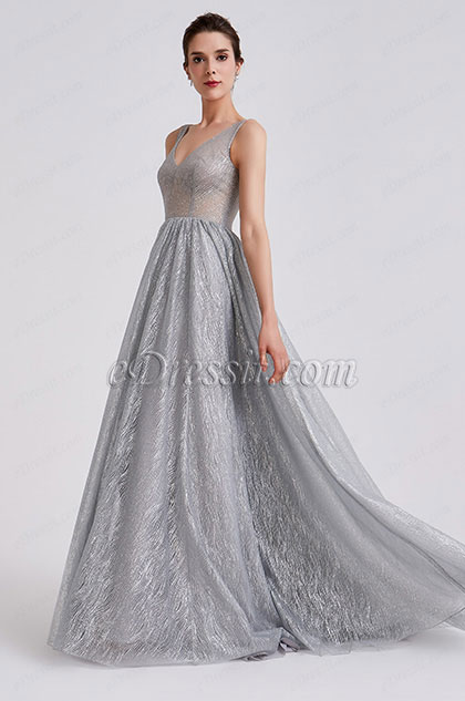 New Grey Classic V Cut Prom Evening Dress