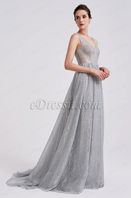 eDressit 2019 New Grey Classic V Cut Prom Evening Dress (00190708)