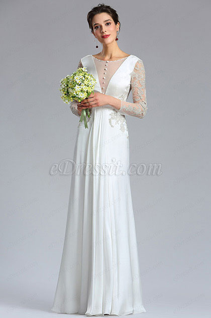 eDressit Long Sleeves Lace Beaded Women Bridal Dress (01180407)