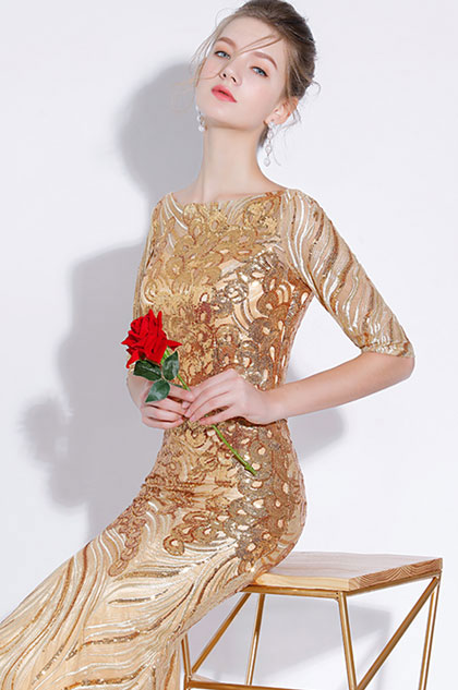 eDressit Gorgeous Gold Beaded Sequins Party Prom Formal Gown (36217124)