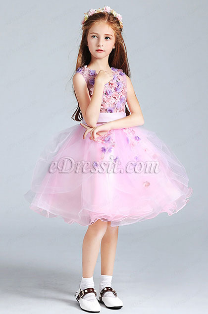 Cute Little Girl Flower Dress With Short Skirt