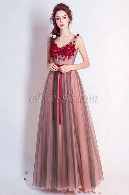 eDressit V-Cut  Straps A-Line Tulle Party Prom Formal Dress (36204846)