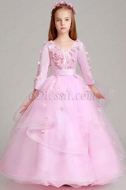 347358703 eDressit Princess Pink Children Wedding Flower Girl Dress (27199601)