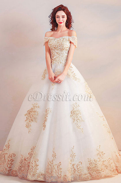 Off Shoulder Champagne Embroidery Party Ball Dress