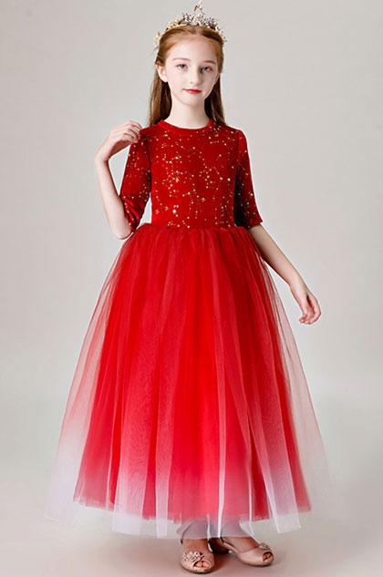 eDressit Red Long Tulle Handmade Flower Girl Dress (27205802)