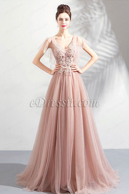 New V-Cut Pink Embroidery Tulle Prom Evening Dress