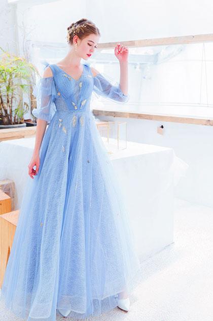 eDressit NEW Blue V-Cut Off Shoulder Sleeves Party Ball Dress (36223505)