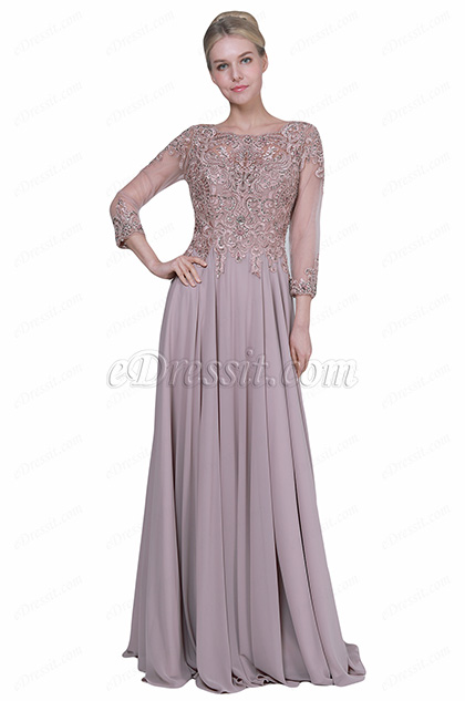 eDressit New Sleeves Embroidery Formal Mother of the Bride Dress (26192146)
