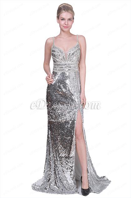 eDressit Sexy New V-Cut Sequins High Slit Party Evening Dress (00191426)