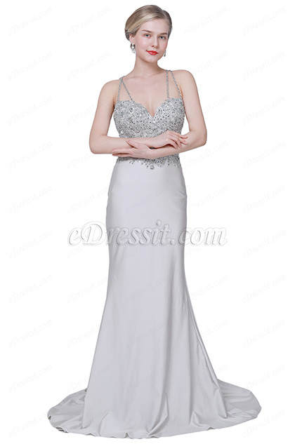 eDressit  New Grey Beaded Top Sweetheart Party Evening Dress (00192808)