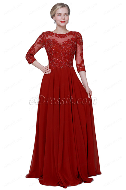 eDressit NEW Red Half Sleeves Formal Mother of Bride Dress (26192402)