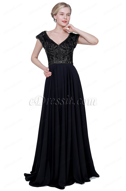eDressit New Black V-Cut Beaded Cap Sleeves Party Evening Dress (02192400)