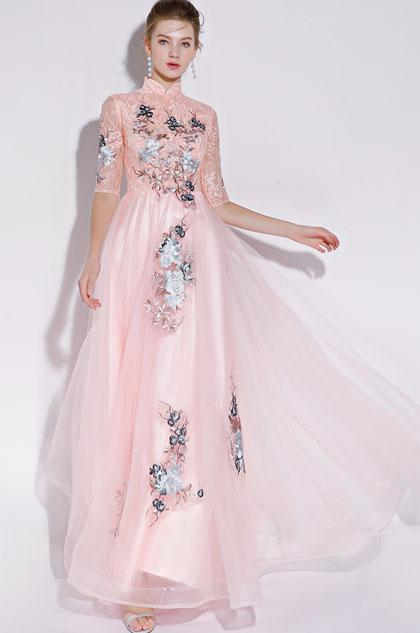 eDressit High Neck Pink/Grey Evening Dress Formal Wear (36217201)