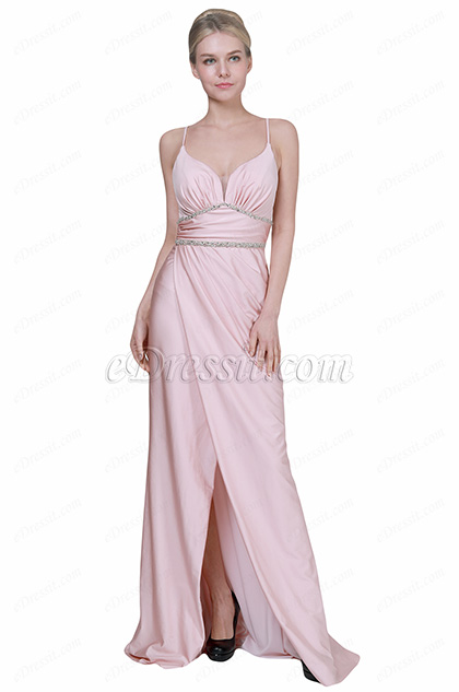 eDressit New Pink Spaghetti V-Cut Slit Party Evening Dress (00192301)