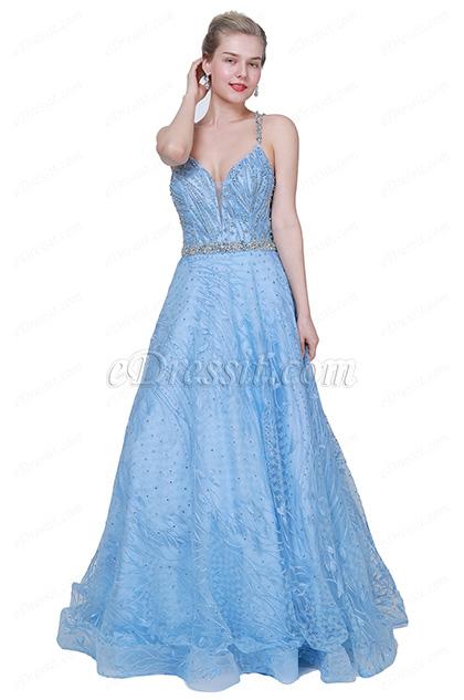 eDressit NEW Blue V-Cut Beaded Tulle Long Party Prom Dress (00191805)