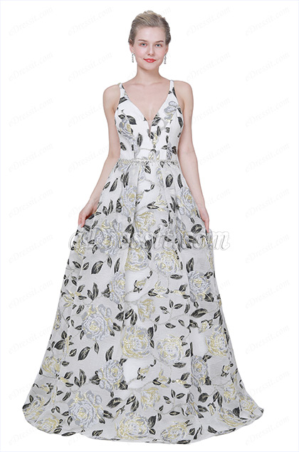 eDressit New Spaghetti Print V-Cut Party Prom Ball  Dress (00191368)