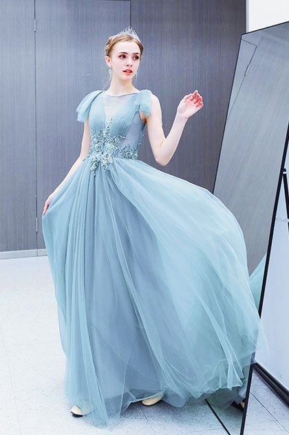 eDressit Sexy Blue V-Cut Sheer Lace Tulle Party Prom Dress (36223105)
