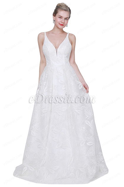eDressit New Sexy V-Cut Lace Appliques Party Wedding Dress (01190207)