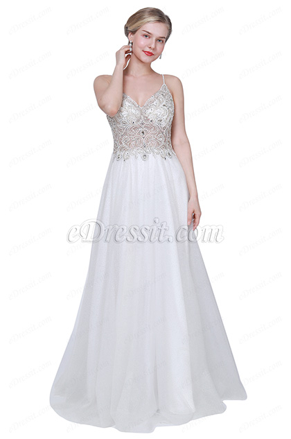 eDressit New White Spaghetti Straps Embroidery Wedding Ball Dress (00191607)