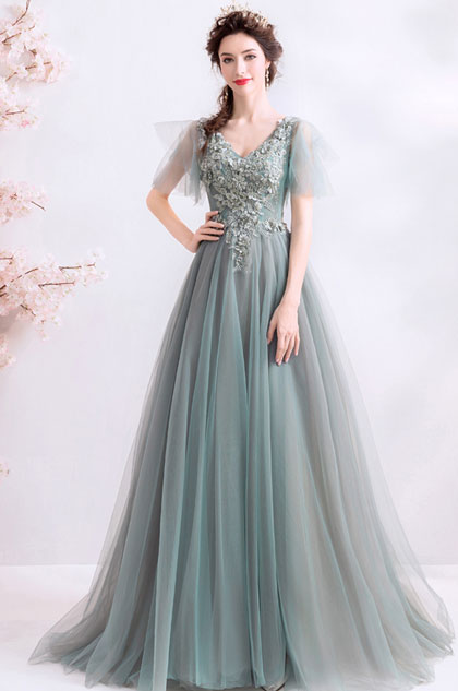 eDressit Grey Cape V-Cut Embroidery Party Prom Dress (36223208)
