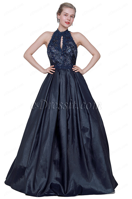 eDressit Blue Halter Beaded Shiny Open Back Party Dress (02194005)
