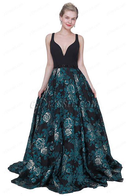 eDressit New Black V-Cut Print Puffy skirt Party Evening Dress (02194105)